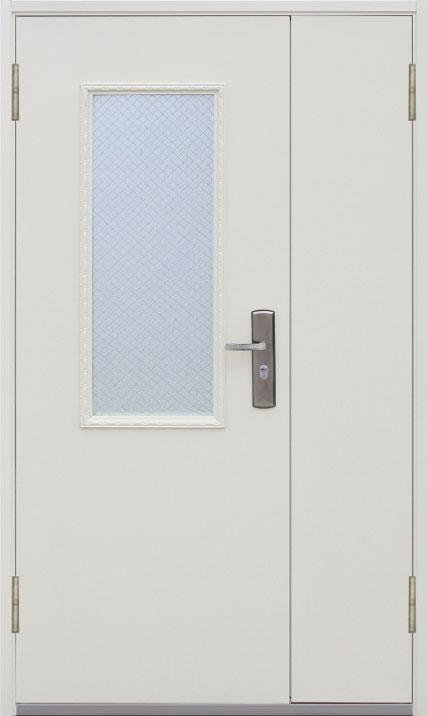 двери двустворчатые стальные со стеклом 1200 2050